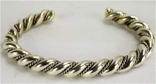 Elaine Tahe Heavy Sterling Rope Twist Cuff Bracelet