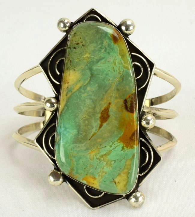 Navajo Sterling Large Stone Green Turquoise Bracelet