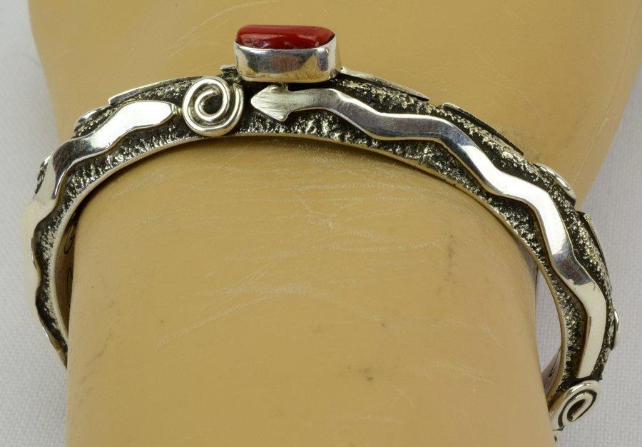 Alex Sanchez Navajo Sterling Petroglyph Bracelet w/cora - 6