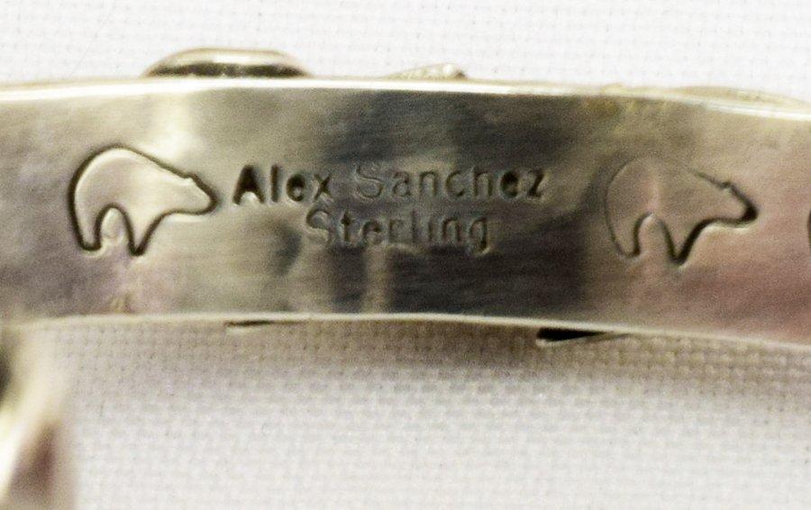 Alex Sanchez Navajo Sterling Petroglyph Bracelet w/cora - 7