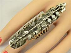 L. James Long Feather Ring w/White Buffalo Turquoise