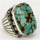 Zuni, Edookie Sterling Silver Heavy Men's Ring