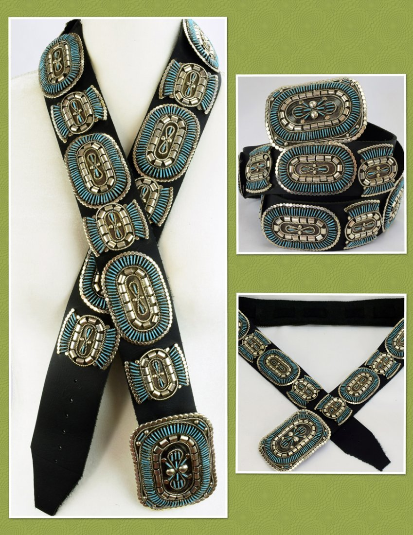 Sterling and Turquoise Needlepoint Concho Belt-Yazzie