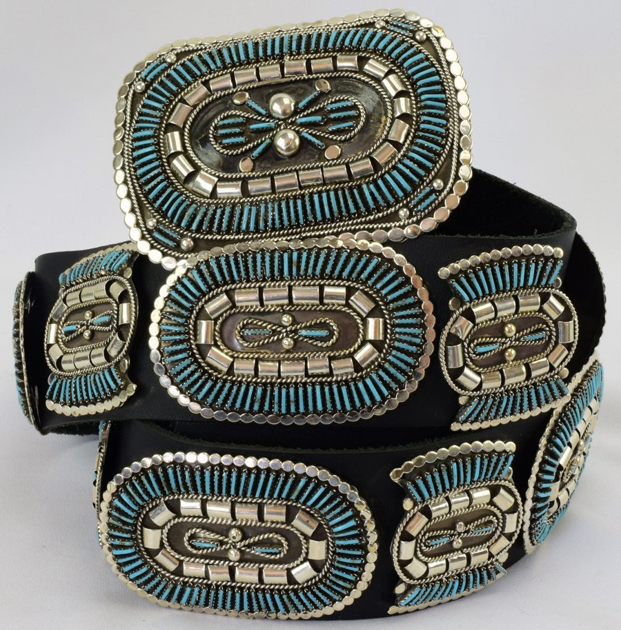 Sterling and Turquoise Needlepoint Concho Belt-Yazzie - 3