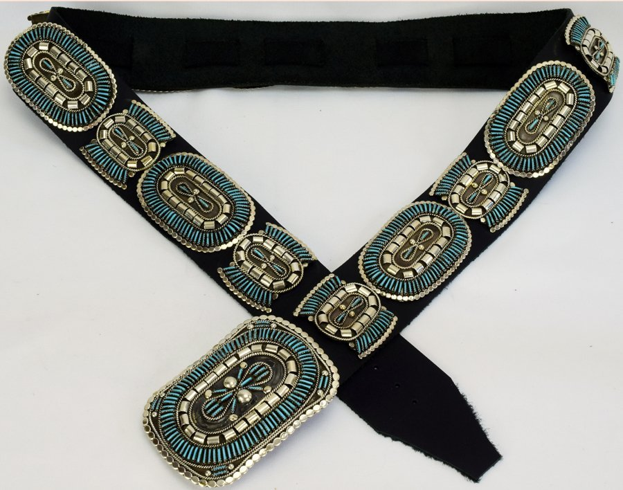 Sterling and Turquoise Needlepoint Concho Belt-Yazzie - 4