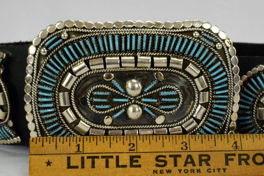Sterling and Turquoise Needlepoint Concho Belt-Yazzie - 6