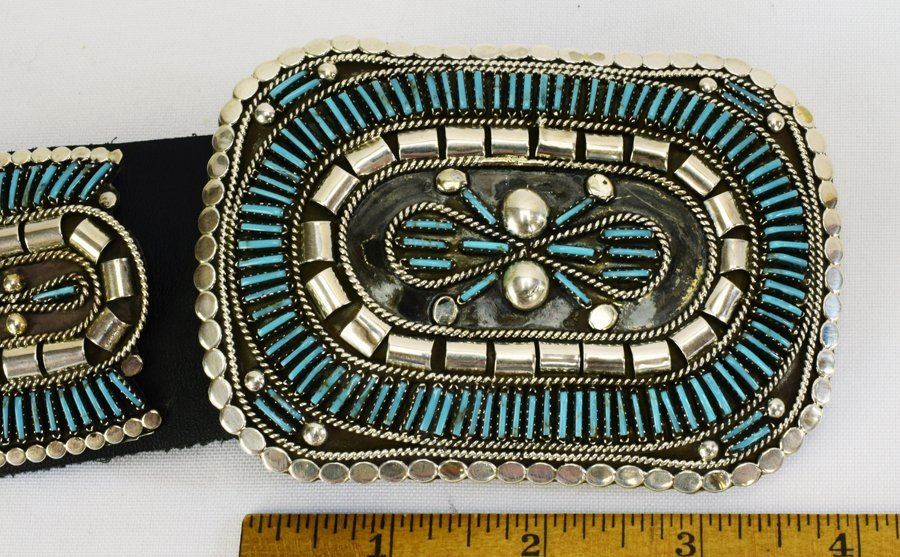 Sterling and Turquoise Needlepoint Concho Belt-Yazzie - 8