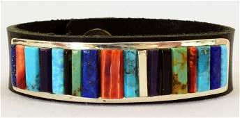 Navajo Men's Inlay Multi-Stone Bracelet w/leather