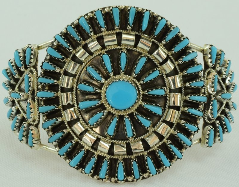 Navajo Sterling Needlepoint Turquoise Cuff Bracelet