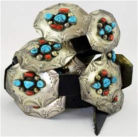 Vintage Sterling  Coral and Turquoise Concho Belt