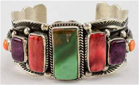 Navajo Sterling Heavy Turquoise and Spiney Oyster Cuff