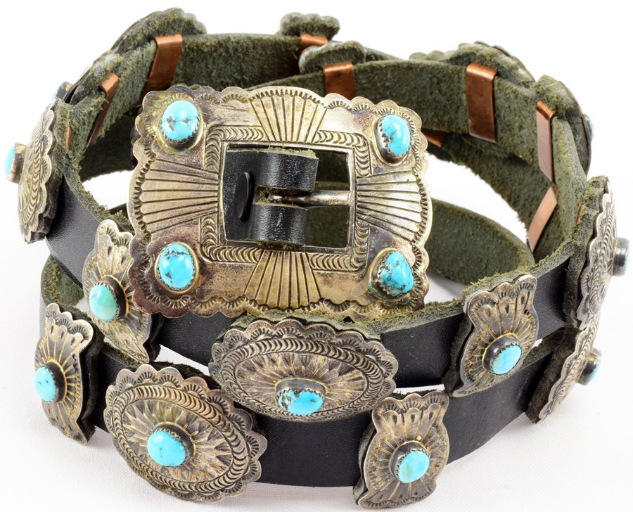 Vintage  Old Pawn Sterling Concho w/ Turquoise -D.M.