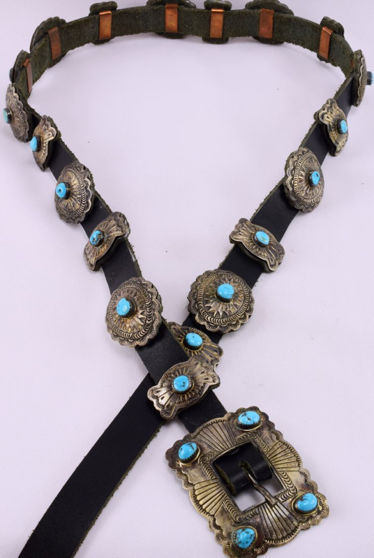 Vintage  Old Pawn Sterling Concho w/ Turquoise -D.M. - 2