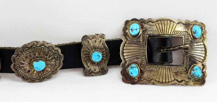 Vintage  Old Pawn Sterling Concho w/ Turquoise -D.M. - 3