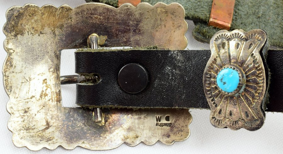Vintage  Old Pawn Sterling Concho w/ Turquoise -D.M. - 4