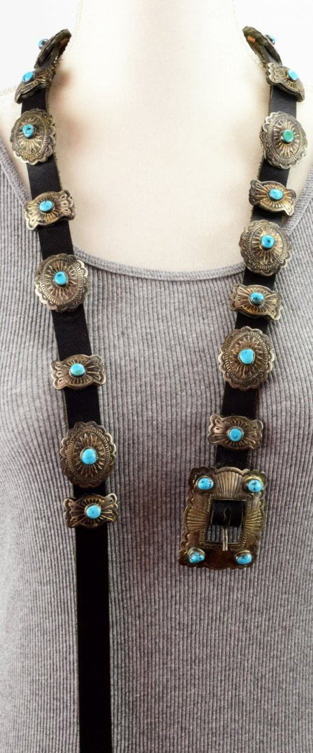 Vintage  Old Pawn Sterling Concho w/ Turquoise -D.M. - 5