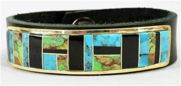 Navajo Sterling Turquoise and Jet Inlay Cuff w/Leather