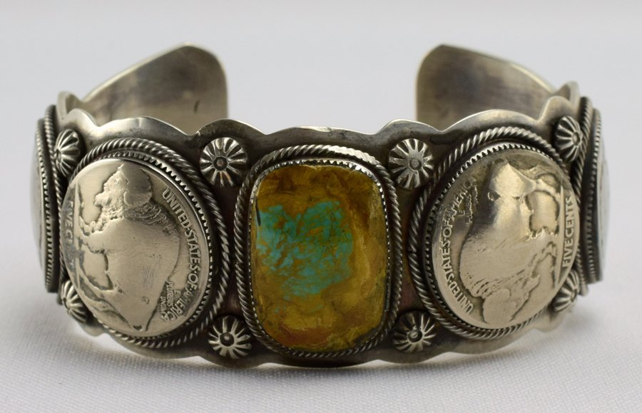 Raymond Delgarito Turquoise and Buffalo Nickel Cuff