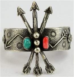 Virgil Reeder, Navajo Sterling Sand Cast Arrow Bracelet