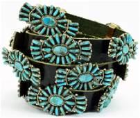 Davina Benally Turquoise Needlepoint Concho Belt