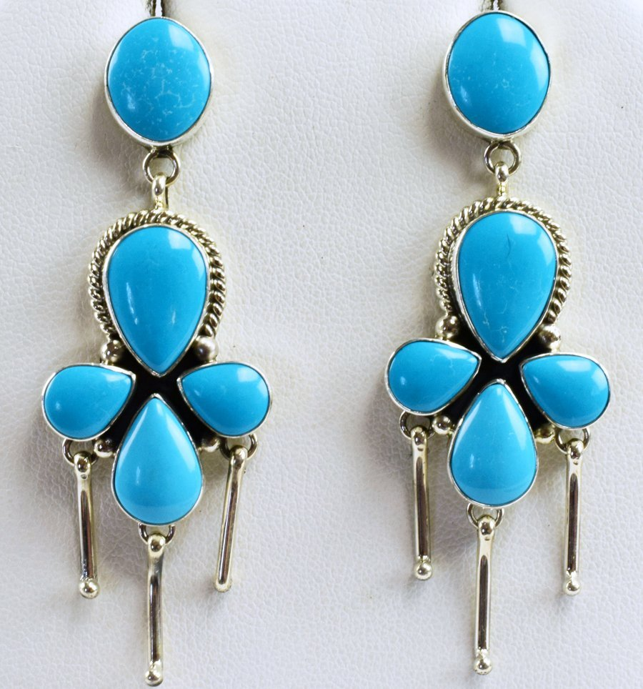 Navajo Sterling Silver Turquoise Earrings by C. Wylle