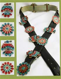 Zuni  Vintage Crushed Turquoise Coral Inlay Concho Belt