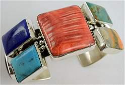 Navajo Sterling Multi-Stone Bracelet By Chimney Butte