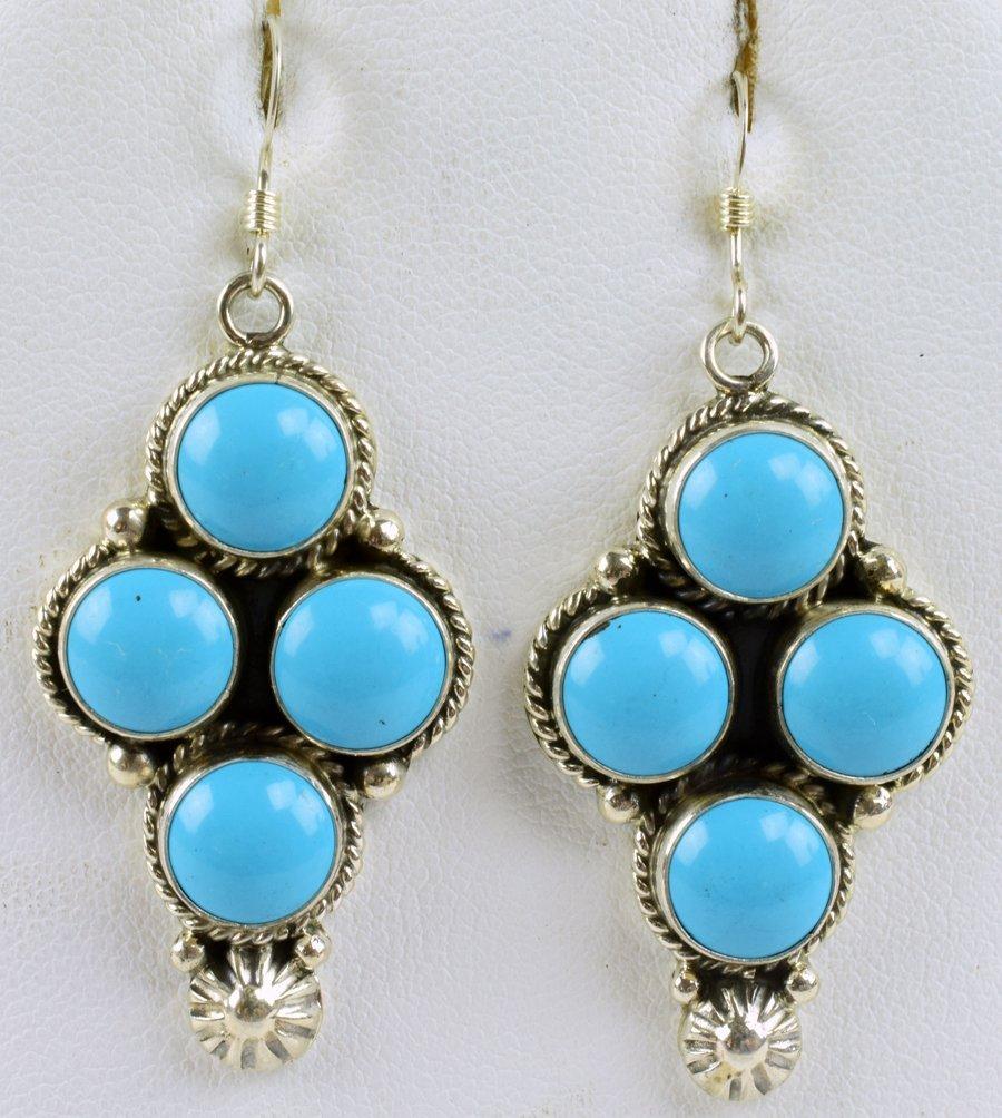 Navajo Sterling Silver Turquoise Earrings - Wylie