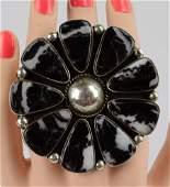 Geraldine James Huge  White Buffalo Turquoise Ring