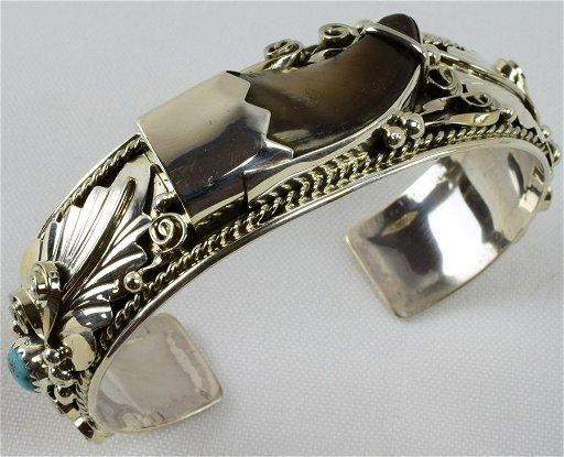 George Edsitty Sterling Silver Bear Claw Bracelet
