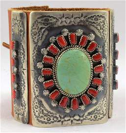 Navajo Sterling Bow Gurard - Ketoh w/Turquoise & Coral