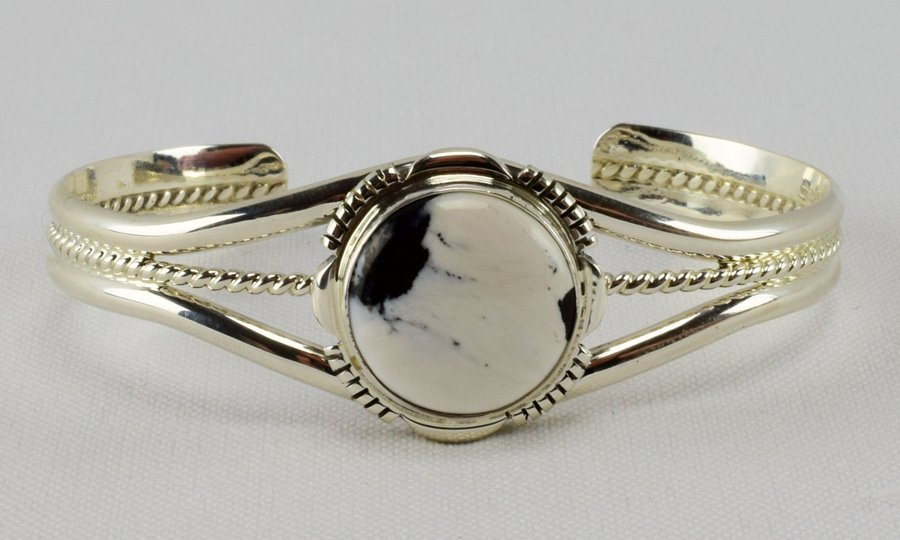L. Yazzie Sterling White Buffalo Turquoise Cuff