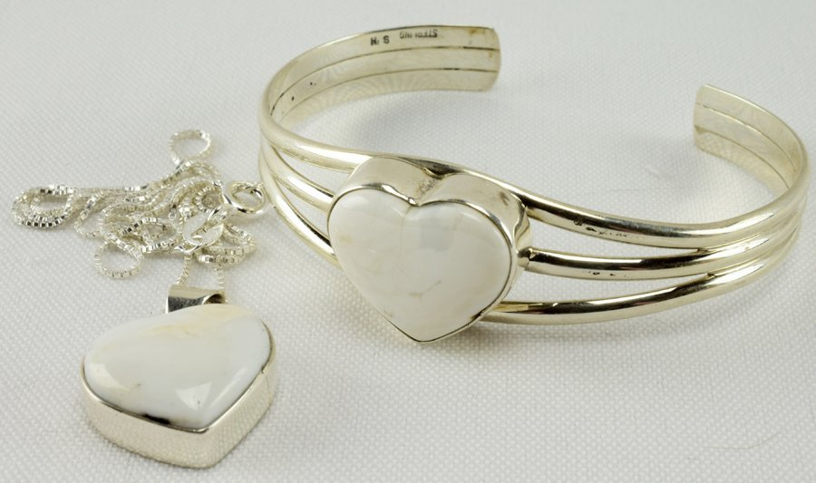 Navajo White Buffalo Turquoise Bracelet and Necklace St