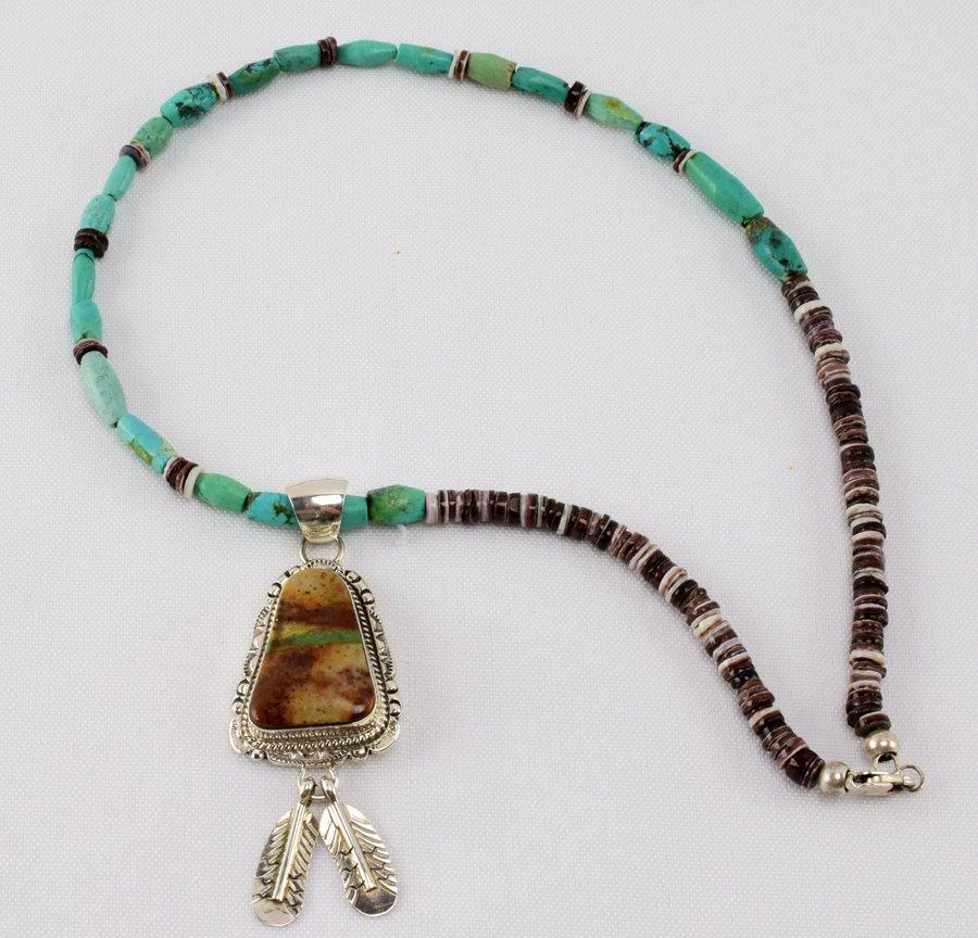 Alfred Martinez Boulder Turquoise Pendant Necklace