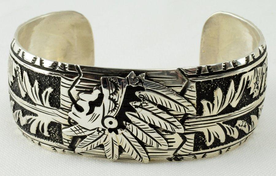 T & R Singer Sterling Chief Overlay Cuff Bracelet