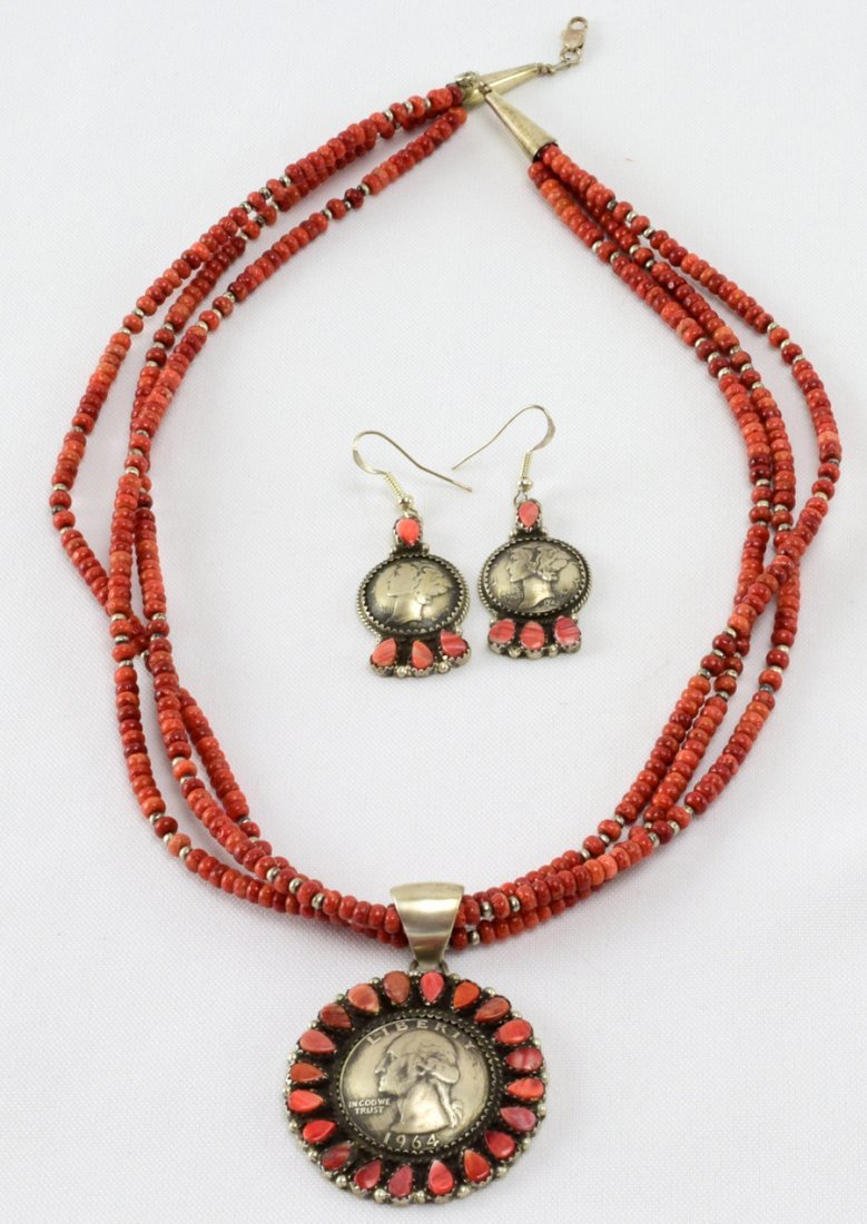 Spiny Oyster Coin Necklace,Pendant and Earring Set