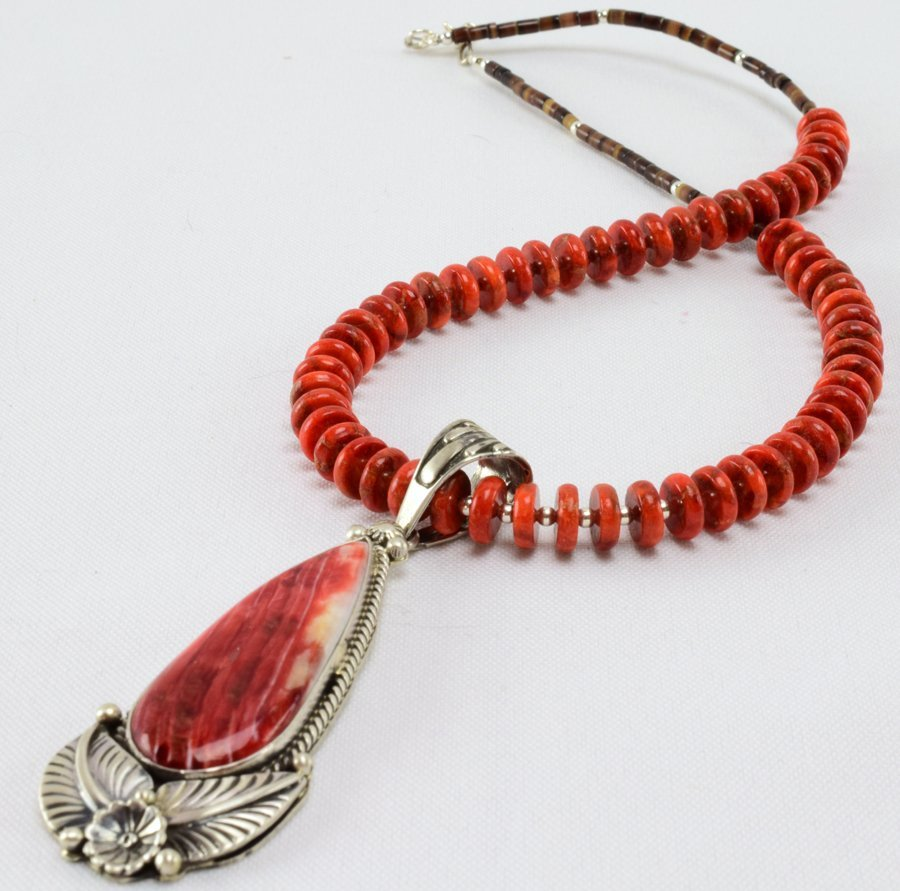 P. Yazzie Sterling Spiny Oyster Pendant Necklace