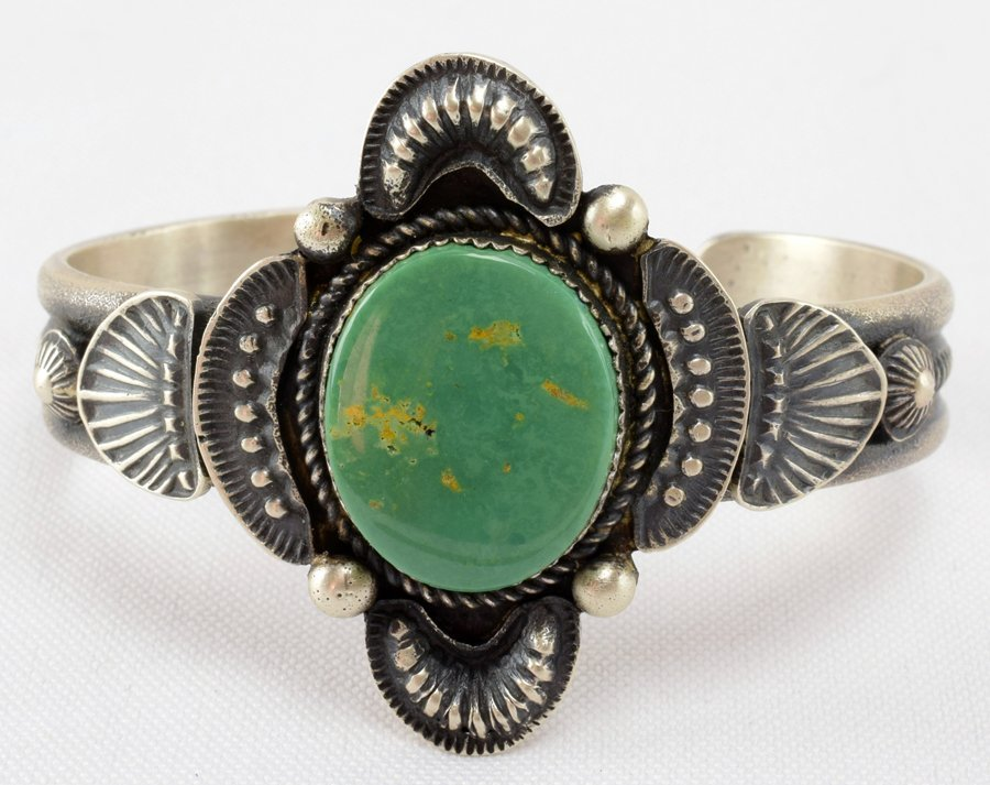 Navajo Sterling Green Turquoise Single Stone Cuff