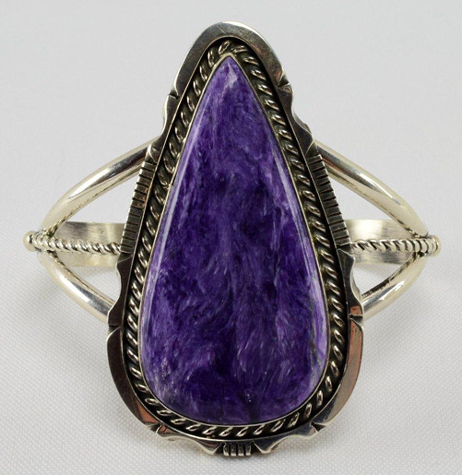 Navajo Sterling Large Charoite Cuff Bracelet