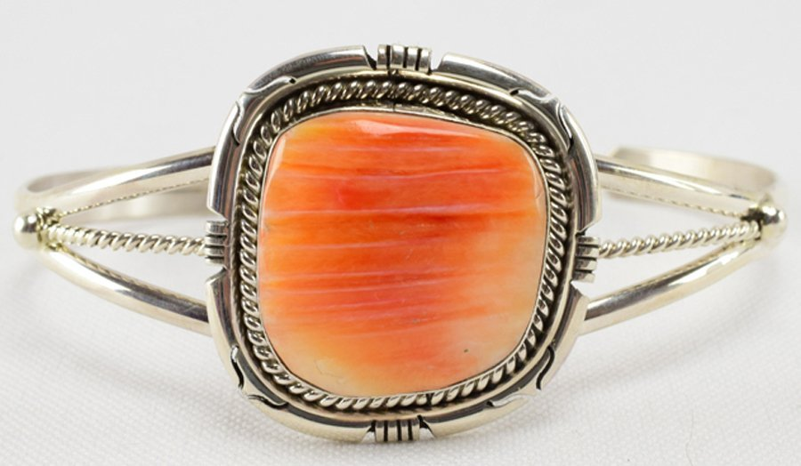 Navajo, S. Skeets Sterling Spiny Oyster Cuff Bracelet