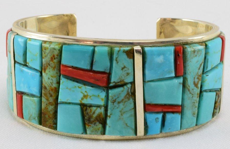 Navajo Kingman Turquoise & Coral Cobblestone Inlay Cuff