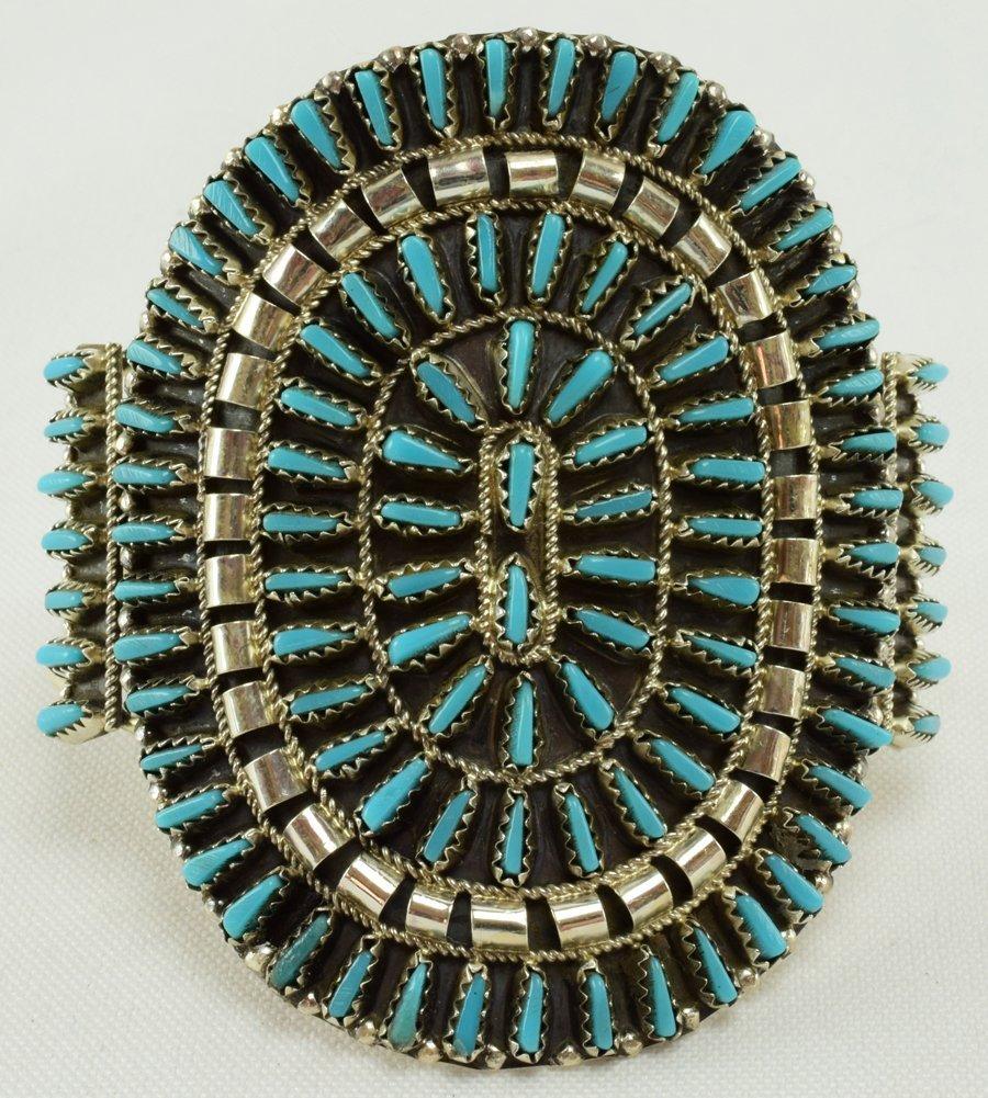 Navajo Sterling  Block Turquoise Needlepoint Bracelet
