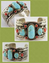 Telly John Number 8 Turquoise and Coral Bracelet