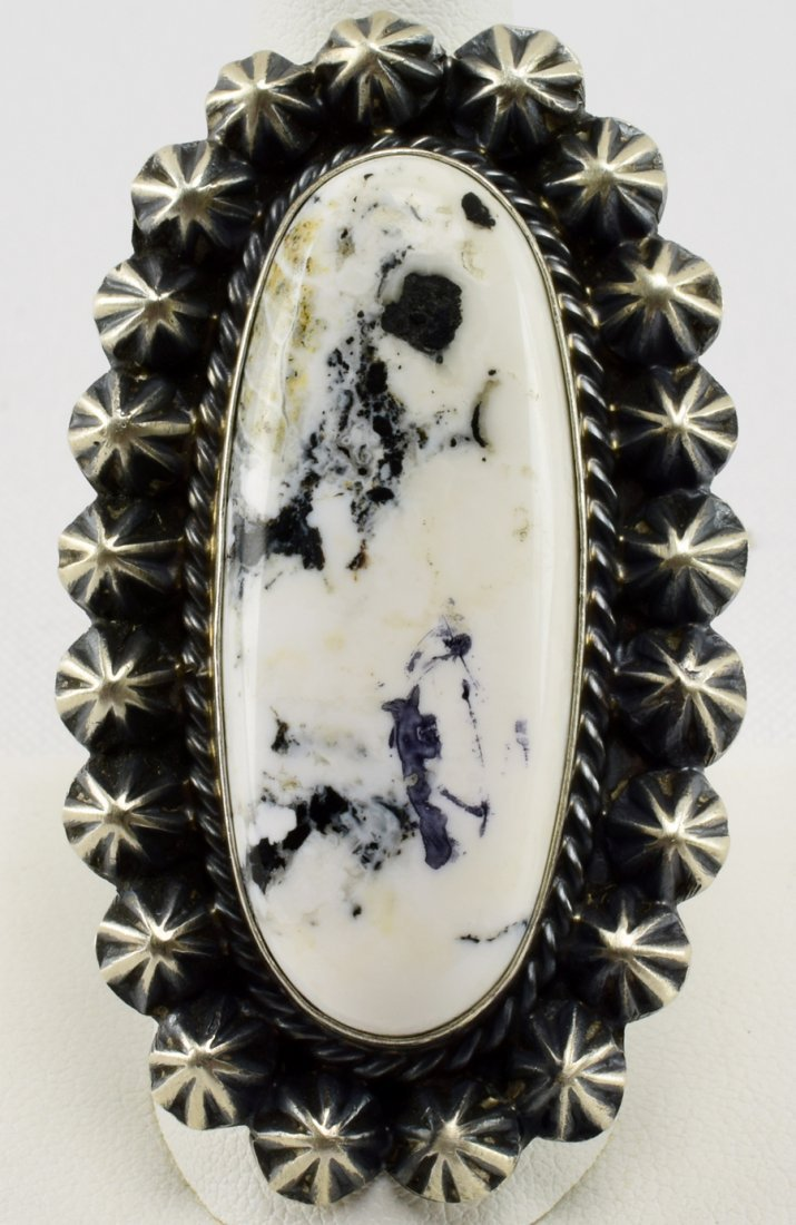 Robert Shakey Sterling White Buffalo Turquoise Ring