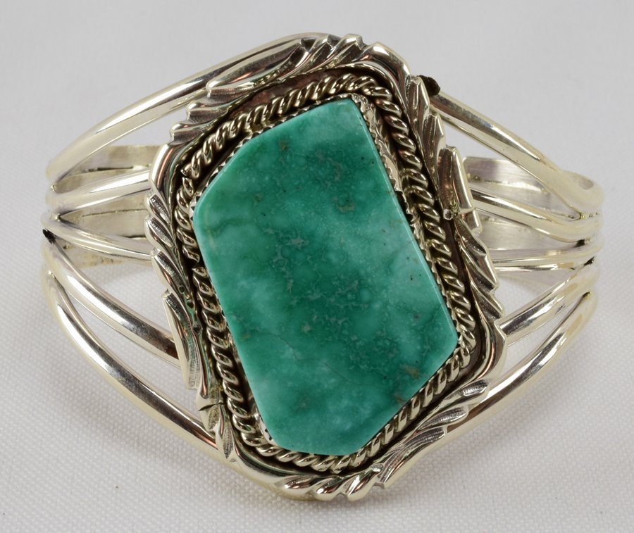 Navajo Sterling Sonoran Turquoise  Stone Bracelet