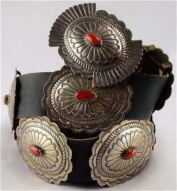 Navajo Sterling and Coral Concho Belt -Suzie James
