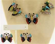 Zuni  Sterling Inlay Butterfly Necklace Se