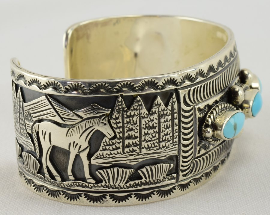 Navajo Sterling Horse Storyteller Cuff W/Turquoise