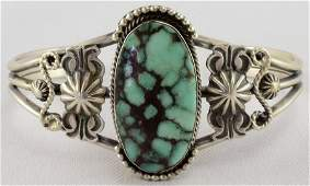 Navajo Sterling Blue Diamond Turquoise Brancelet