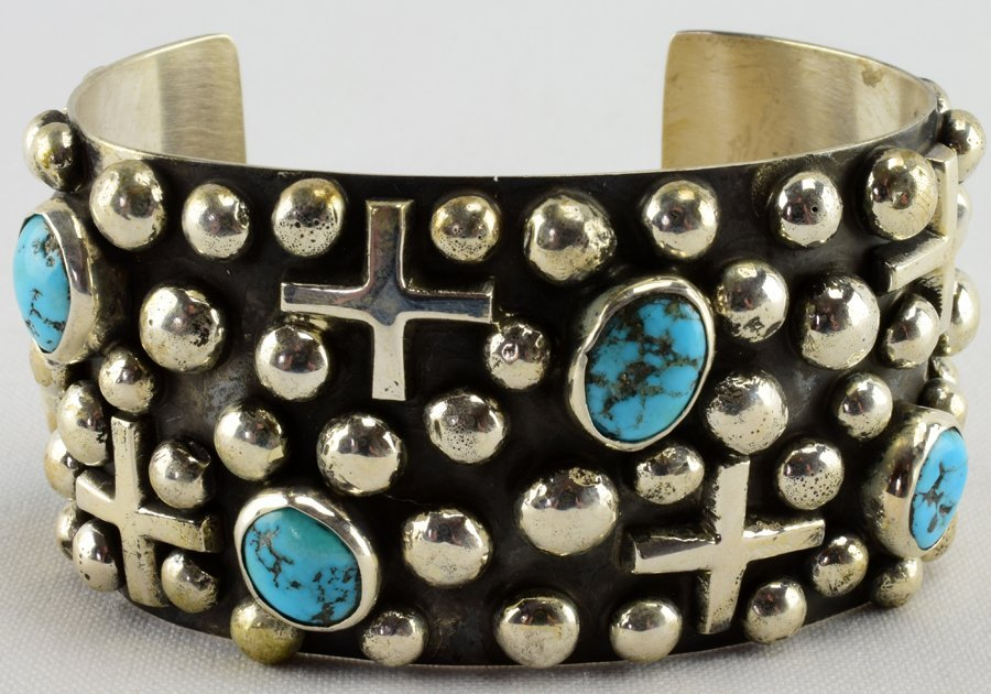 Navajo Sterling Bead, Cross and Turquoise Bracelet